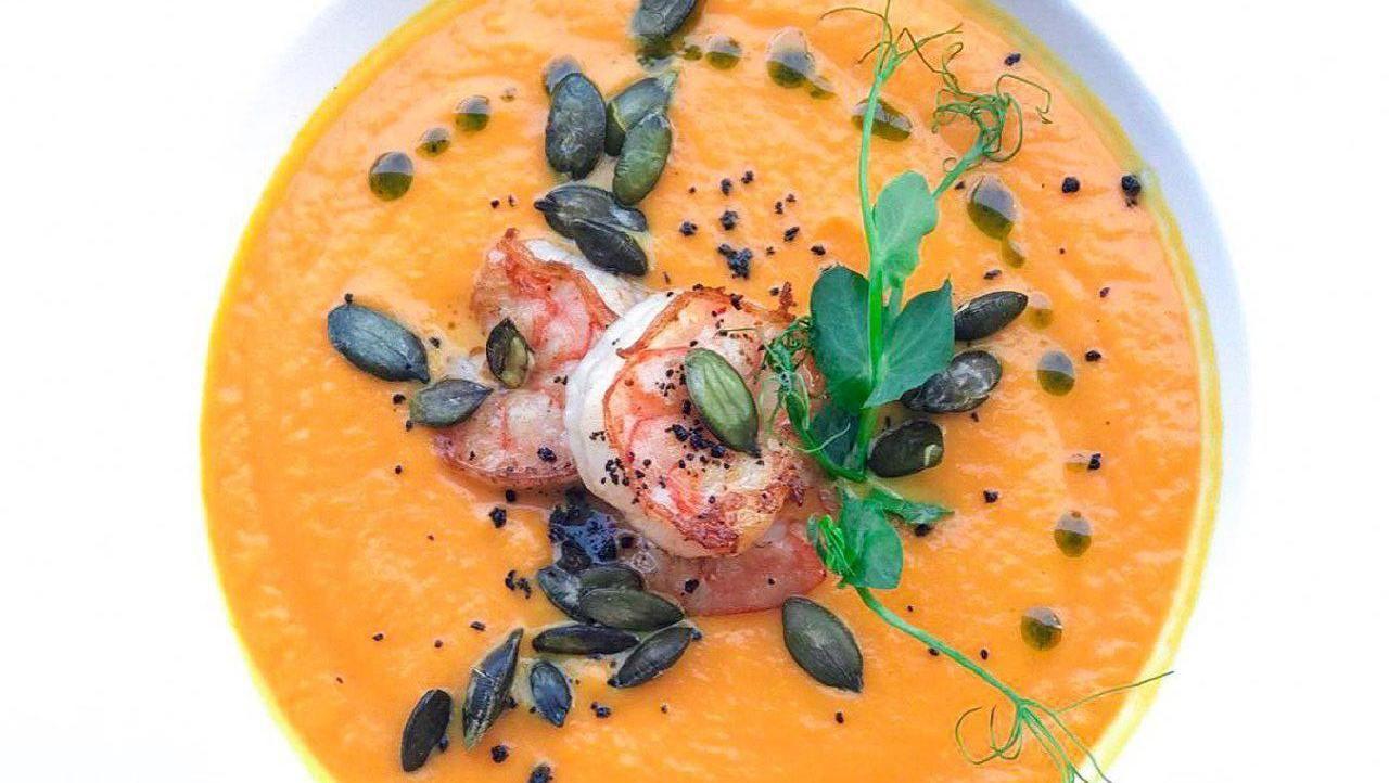 Суп потаж из тыквы с тигровыми креветками