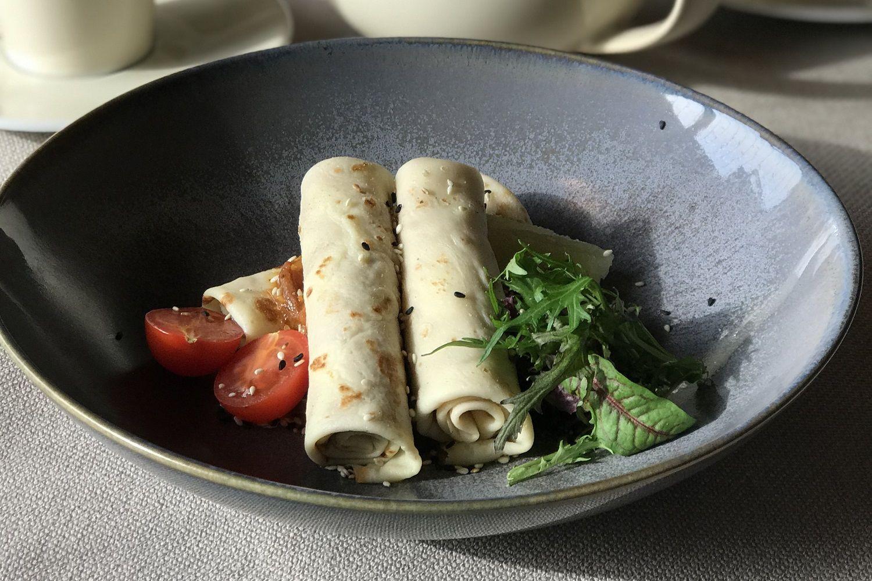 Тыквенные блины с уткой в ресторане «Ателье вкуса» ©Фото предоставлено рестораном