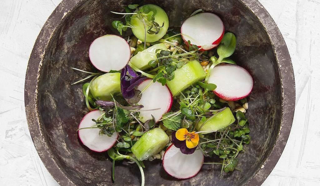 Салат с ростками из злаков, редисом, свежимй огурцом и чатни из яблока ©Фото со страницы ресторана «The Печь» в инстаграме, www.instagram.com/_the_pech_