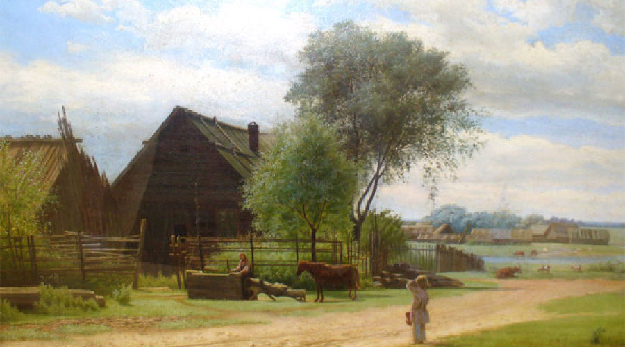 Михаил Клодт (1832—1902). Русская деревня. 1867, холст, масло © Фото Юга.ру