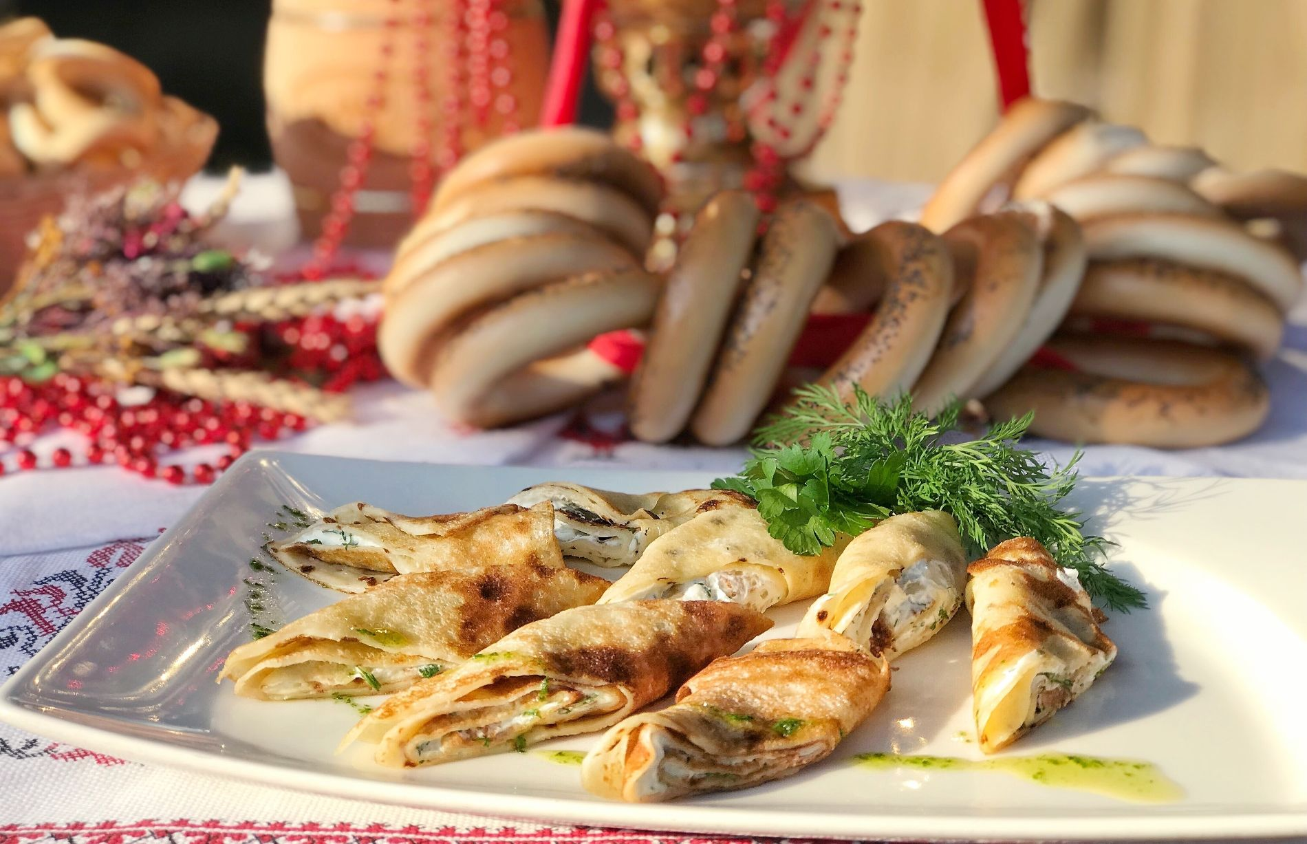 Блины «Пикантные» с сыром и зеленью ©Фотография предоставлена заведением